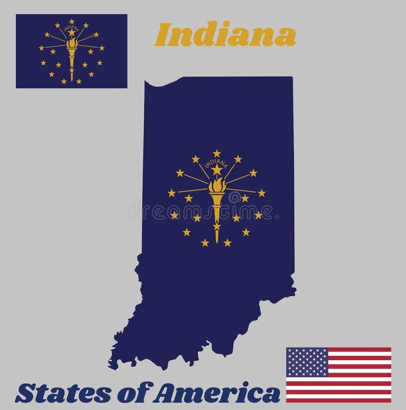 Kaartoverzicht en vlag van Indiana, de gouden die toorts van A door een buitencirkel van dertien sterren wordt omringd, een binne vector illustratie