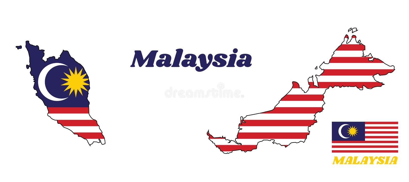 Kaartoverzicht en vlag van Malaysian in blauwe rode witte en gele kleur met gele ster en witte Toenemende maan royalty-vrije illustratie