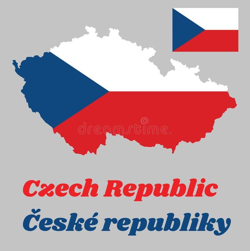 Kaartoverzicht en vlag van Tsjechische Republiek, twee gelijke horizontale banden van witte bovenkant en rood met een blauwe geli stock illustratie
