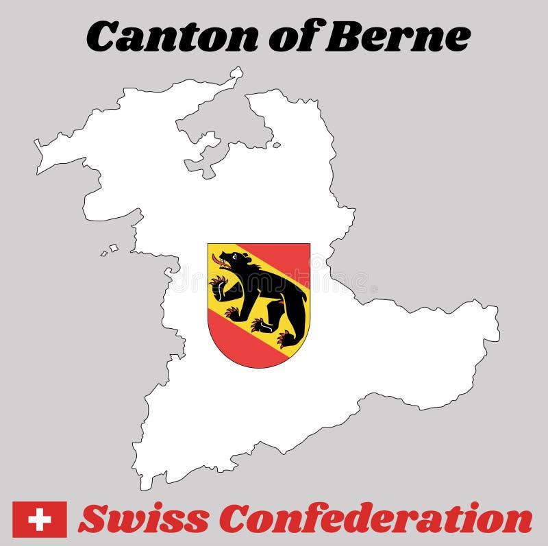 Kaartoverzicht en Wapenschild van Bern, het kanton van Zwitserland, het Kanton van de naamtekst van Berne en Zwitserse Bondsstaat royalty-vrije illustratie