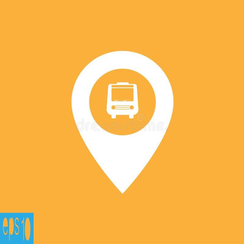 Kaartpictogram met bus - vectorillustratie vector illustratie