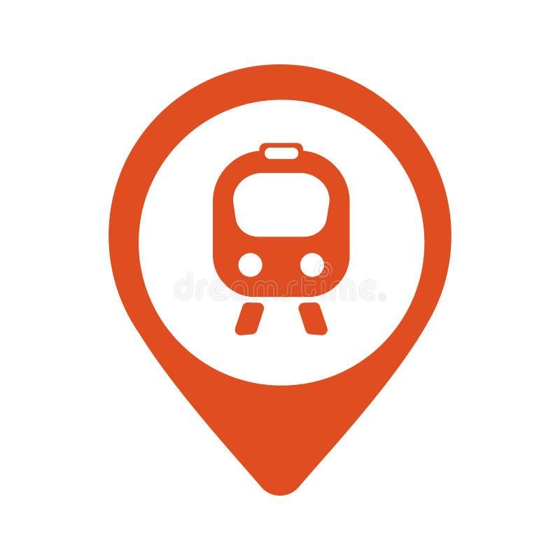 Kaartpictogram met trein, karretje - vectorillustratie royalty-vrije illustratie