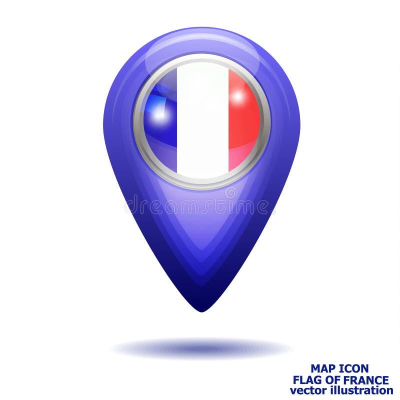 Kaartpictogram met vlag van Frankrijk Vector illustratie stock illustratie
