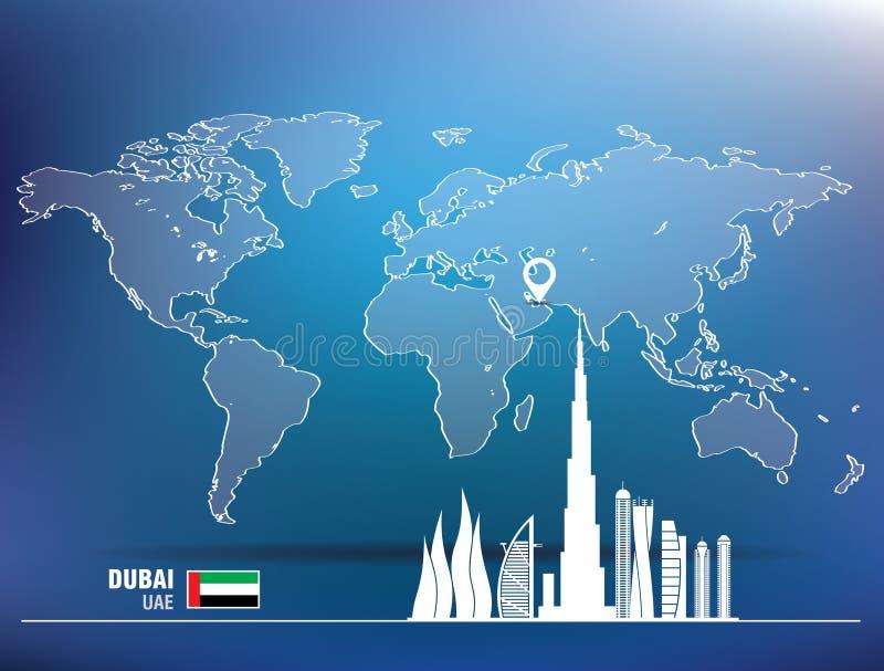 Kaartspeld met de horizon van Doubai vector illustratie