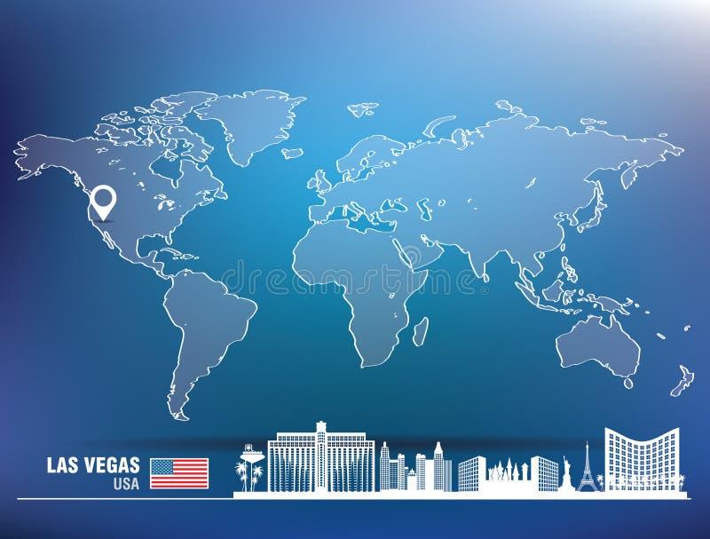 Kaartspeld met de horizon van Las Vegas stock illustratie