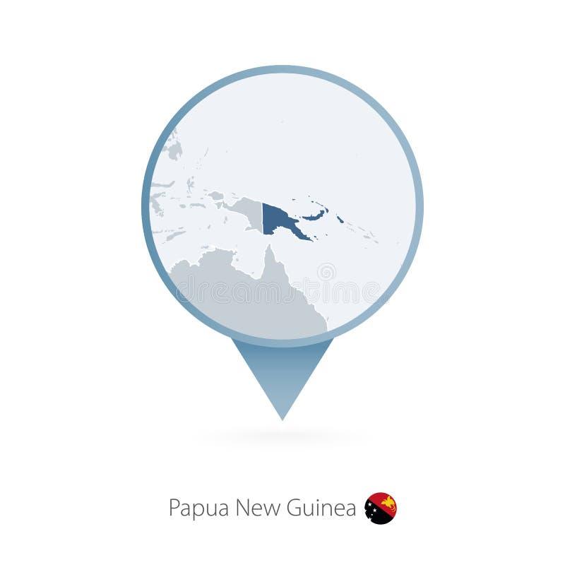 Kaartspeld met gedetailleerde kaart van Papoea-Nieuw-Guinea en naburige landen royalty-vrije illustratie