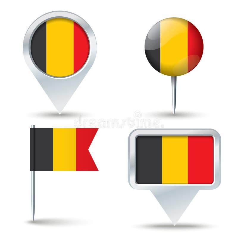 Kaartspelden met vlag van België vector illustratie