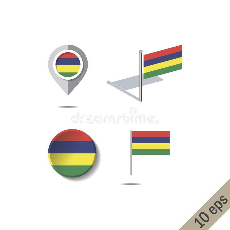 Kaartspelden met vlag van MAURITIUS vector illustratie