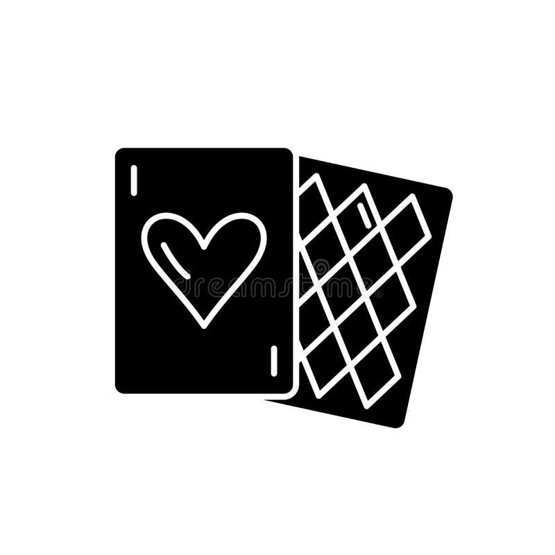 Kaartspels zwart pictogram, vectorteken op geïsoleerde achtergrond Het symbool van het kaartspelsconcept, illustratie royalty-vrije illustratie