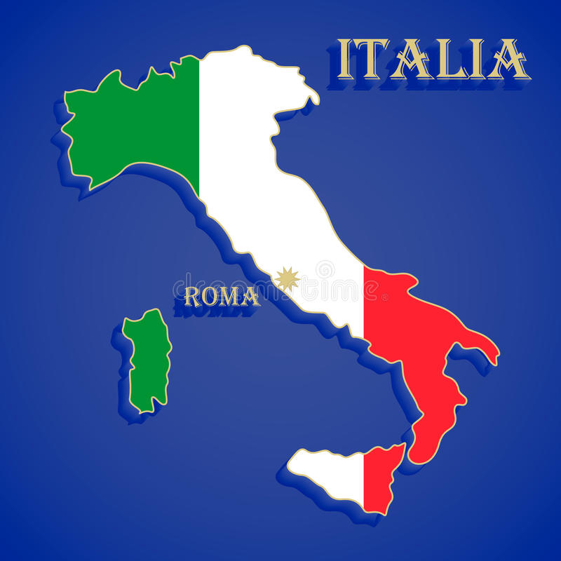 Kaartvlag van Italië royalty-vrije illustratie