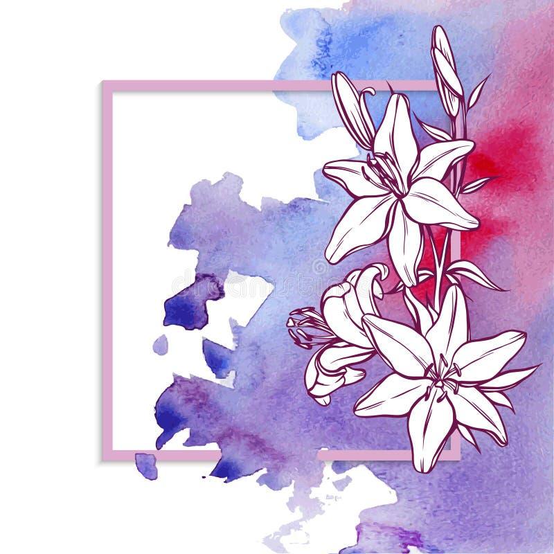 Download Kaartwaterverf En Bloemen Vector Illustratie - Afbeelding: 101010118