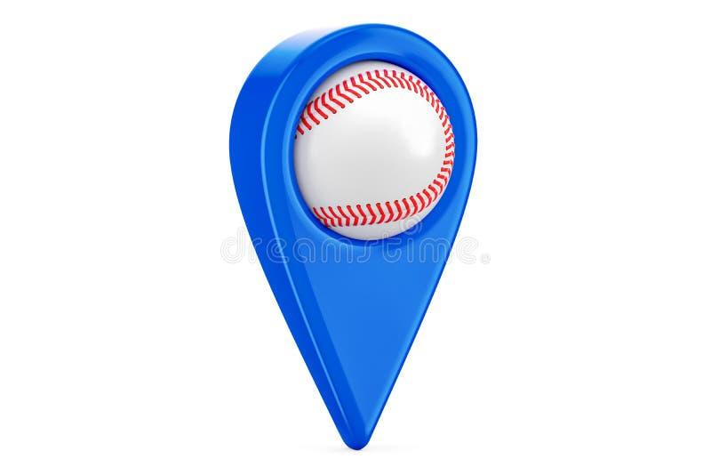 Kaartwijzer met honkbalbal, plaatsconcept het 3d teruggeven royalty-vrije illustratie