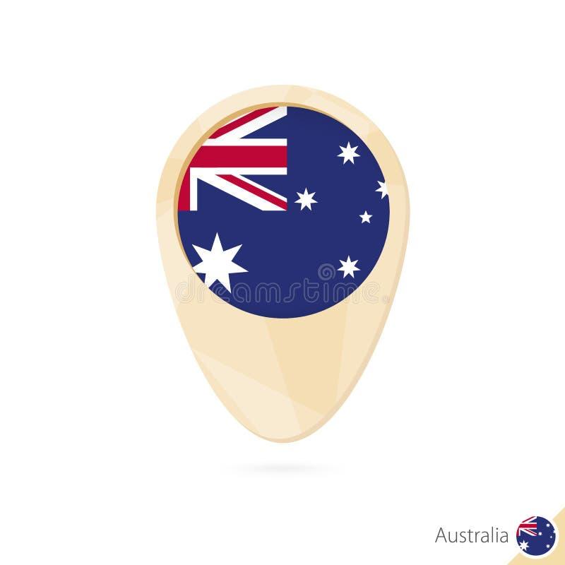 Kaartwijzer met vlag van Australië Oranje abstract kaartpictogram vector illustratie