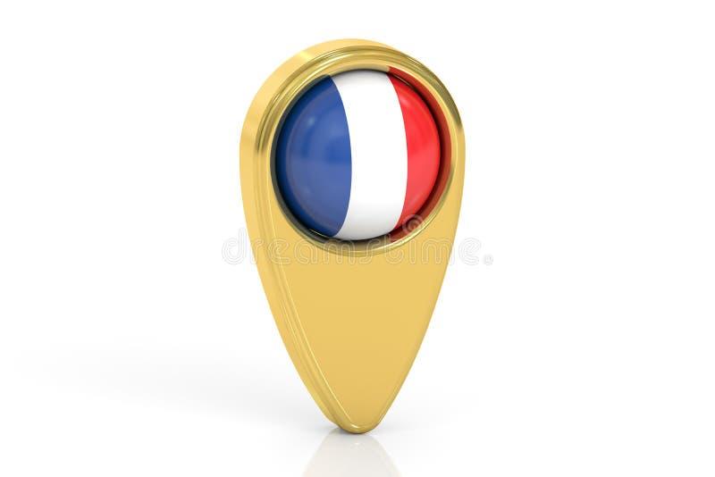 Kaartwijzer met vlag van Frankrijk, het 3D teruggeven stock illustratie