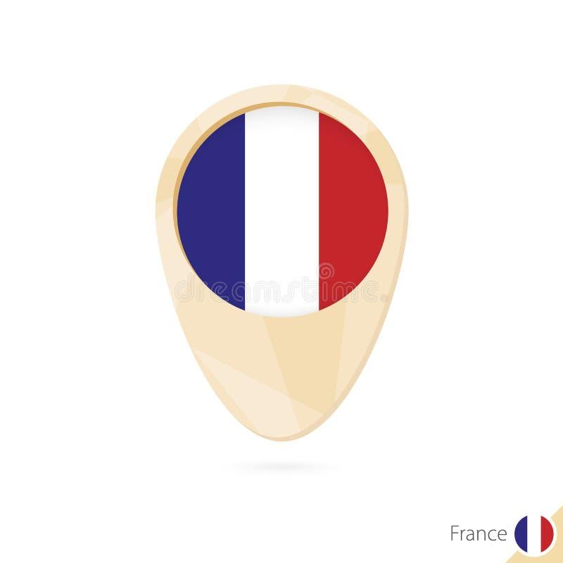 Kaartwijzer met vlag van Frankrijk Oranje abstract kaartpictogram vector illustratie