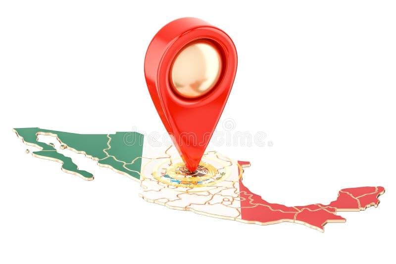 Kaartwijzer op de kaart van Mexico, het 3D teruggeven stock illustratie