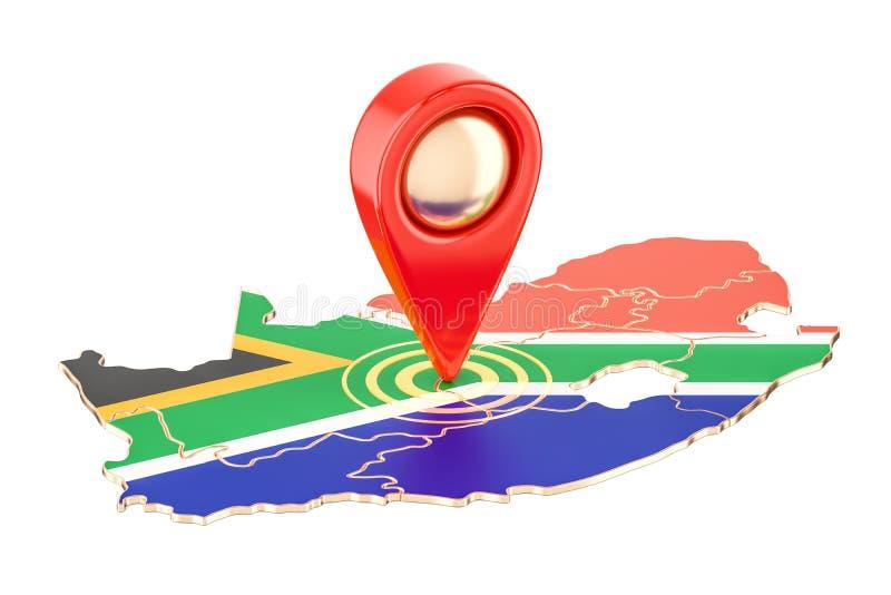 Kaartwijzer op de kaart van Zuid-Afrika, het 3D teruggeven vector illustratie