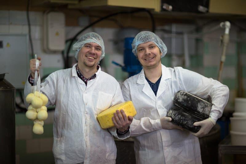 Kaas bij de zuivelfabriek, kaas met twee werkende hoofden stock afbeelding