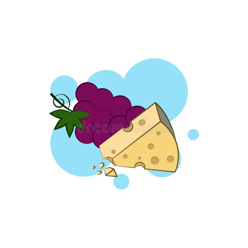Kaas, Brie, druivenpictogram Element van het pictogram van de kleurenkaas stock illustratie