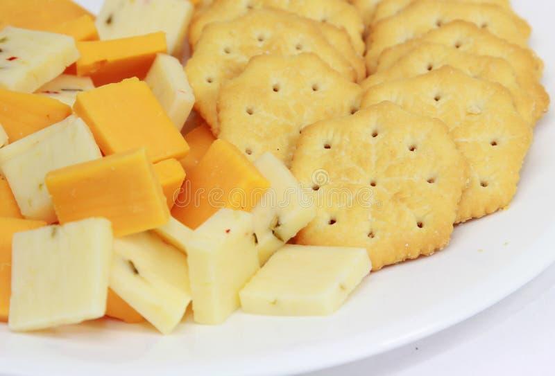 Kaas en Crackers stock foto's