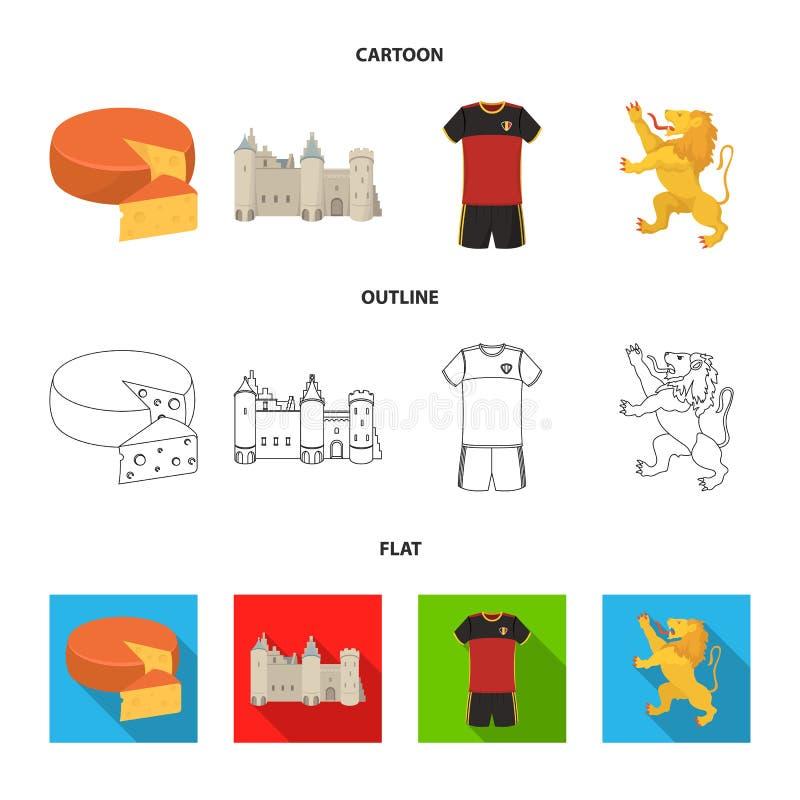 Kaas, leeuw en andere symbolen van het land Vastgestelde de inzamelingspictogrammen van België in beeldverhaal, overzicht, vlak s royalty-vrije illustratie