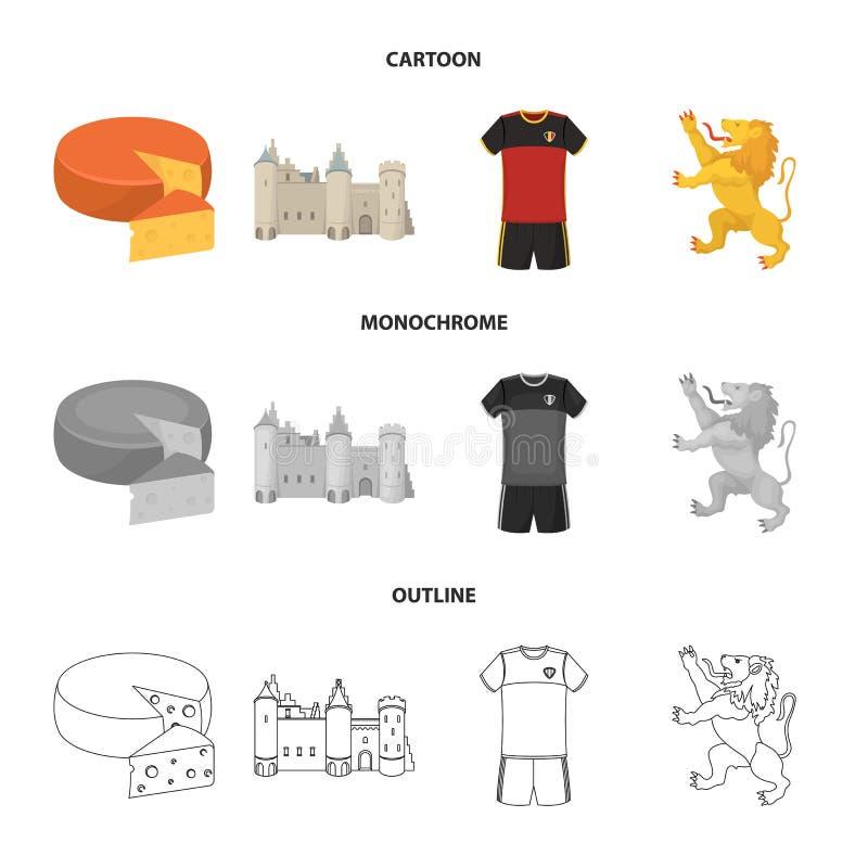 Kaas, leeuw en andere symbolen van het land Vastgestelde de inzamelingspictogrammen van België in beeldverhaal, overzicht, zwart- royalty-vrije illustratie
