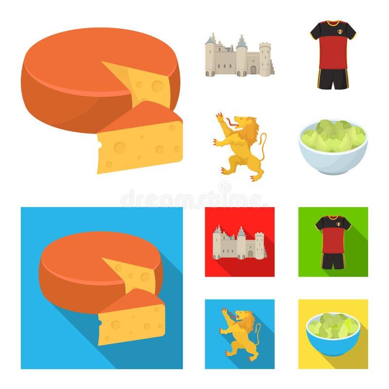 Kaas, leeuw en andere symbolen van het land Vastgestelde de inzamelingspictogrammen van België in beeldverhaal, de vlakke voorraa stock illustratie