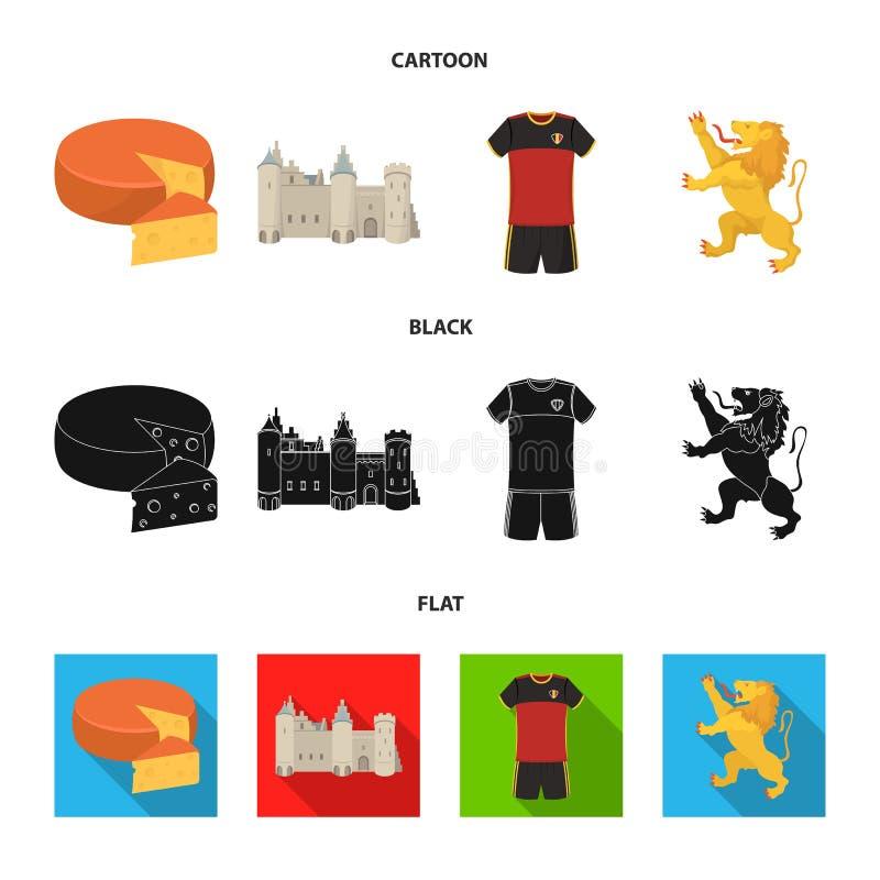 Kaas, leeuw en andere symbolen van het land Vastgestelde de inzamelingspictogrammen van België in beeldverhaal, zwart, vlak stijl stock illustratie