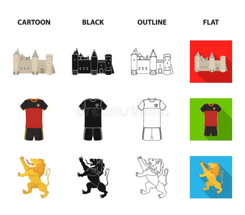Kaas, leeuw en andere symbolen van het land Vastgestelde de inzamelingspictogrammen van België in beeldverhaal, zwarte, overzicht stock illustratie