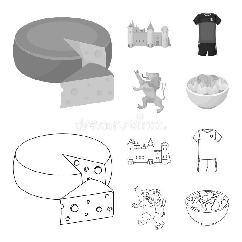 Kaas, leeuw en andere symbolen van het land Vastgestelde de inzamelingspictogrammen van België in overzicht, zwart-wit stijl vect stock illustratie