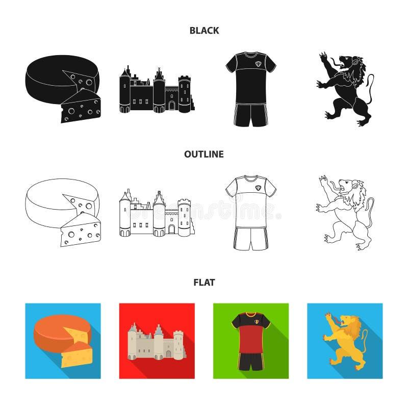 Kaas, leeuw en andere symbolen van het land Vastgestelde de inzamelingspictogrammen van België in zwarte, vlak, het vectorsymbool royalty-vrije illustratie