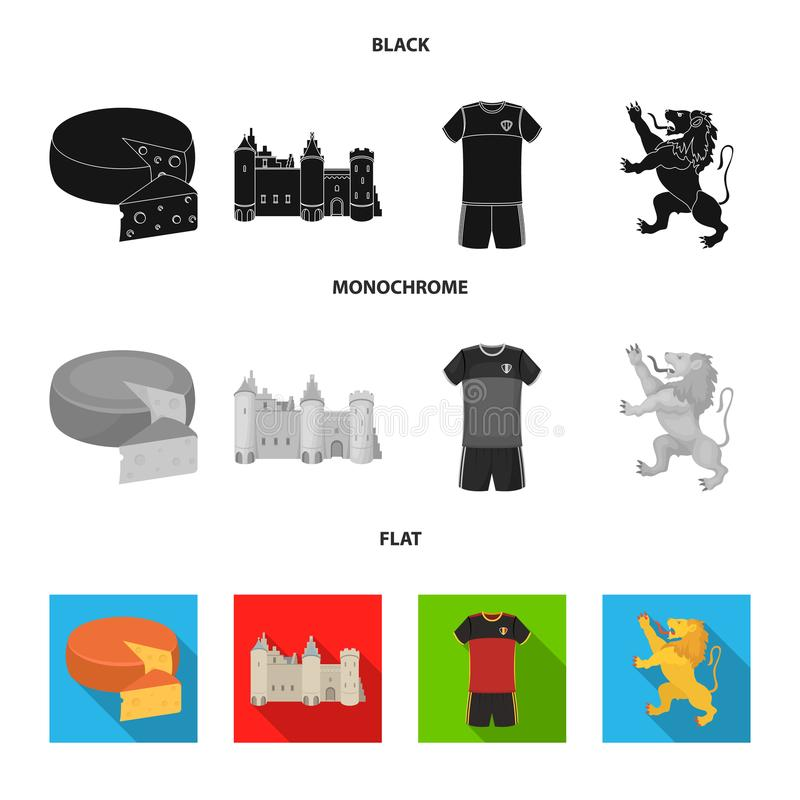 Kaas, leeuw en andere symbolen van het land Vastgestelde de inzamelingspictogrammen van België in zwarte, vlakke, zwart-wit stijl royalty-vrije illustratie