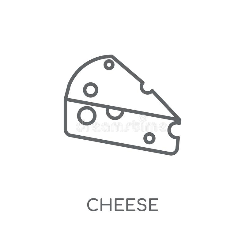 Kaas lineair pictogram Modern het embleemconcept van de overzichtskaas op wit stock illustratie