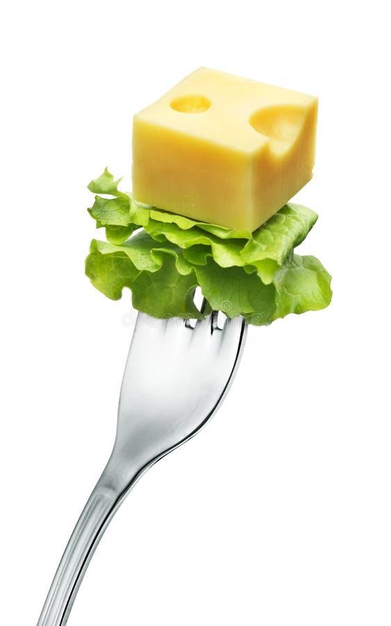 Kaas op een vork royalty-vrije stock afbeelding