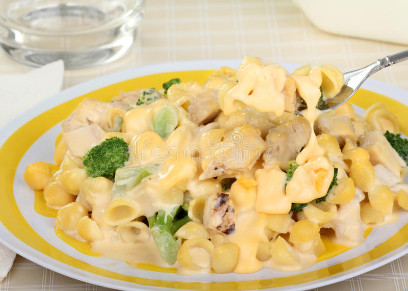 Kaasachtige Macaroni, Kip en Broccoli royalty-vrije stock afbeeldingen