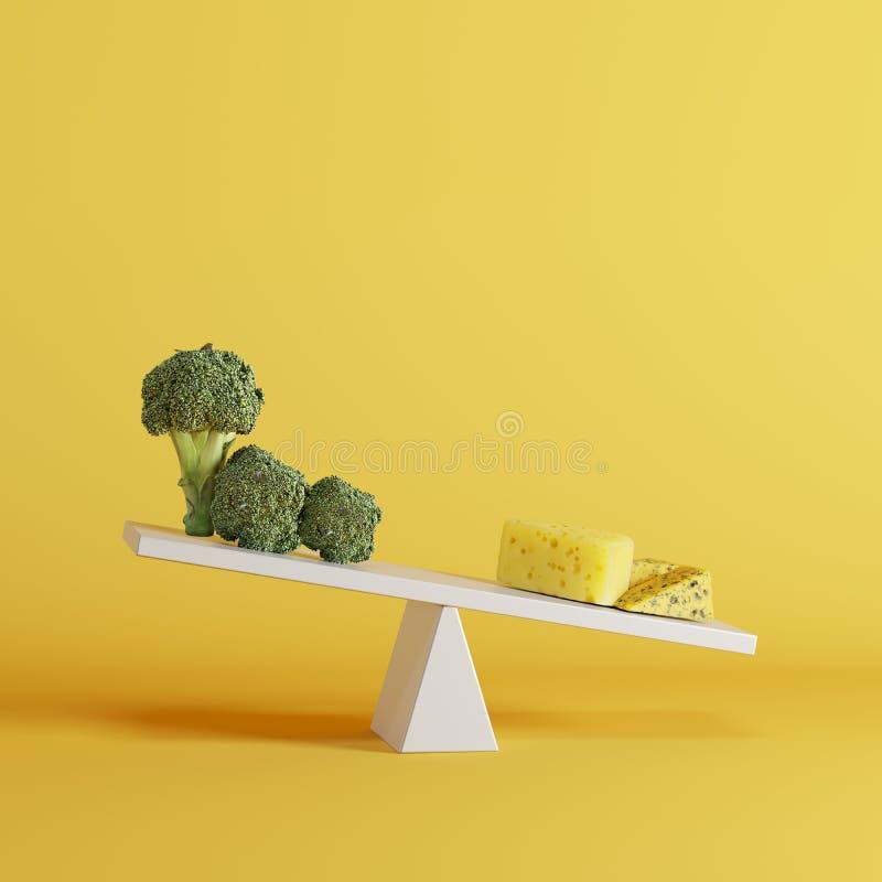 Kaasgeschommel die met broccoli op tegenovergesteld eind op gele achtergrond tippen vector illustratie