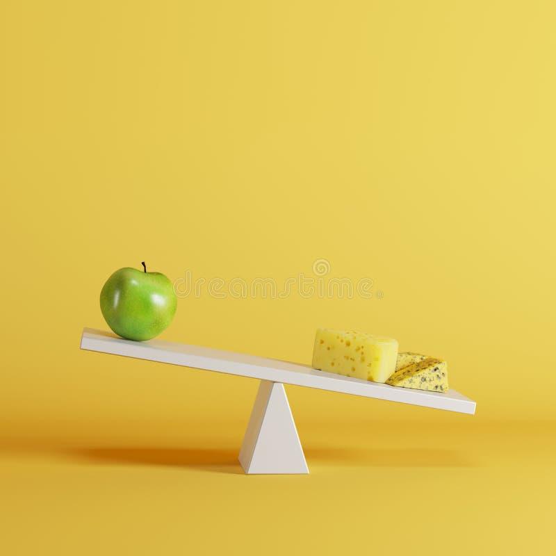 Kaasgeschommel die met groene appel op tegenovergesteld eind op gele achtergrond tippen vector illustratie