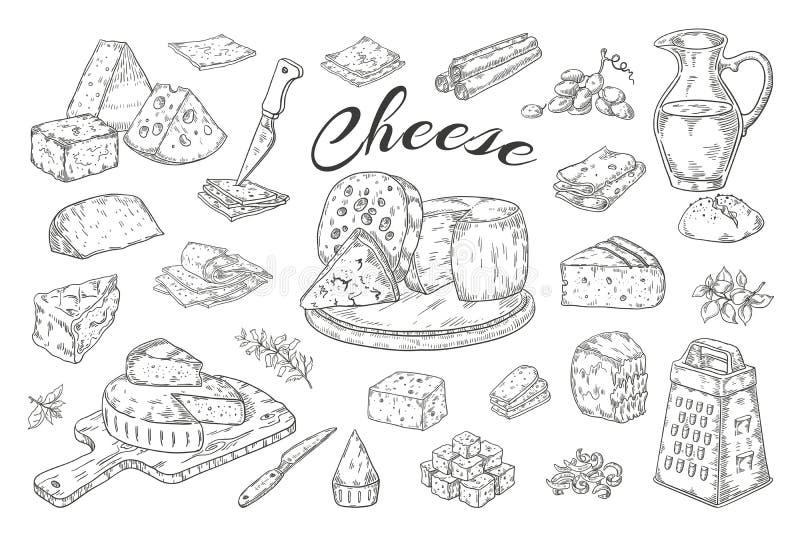 Kaasschets Hand getrokken zuivelproducten, gastronomische voedselplakken, de Brie van de cheddarparmezaanse kaas Vectorontbijtwij royalty-vrije illustratie