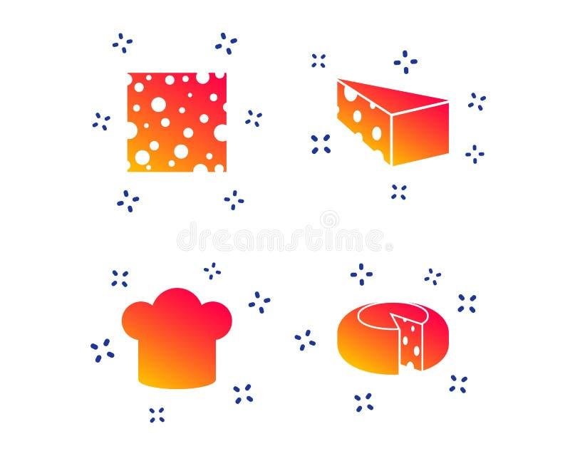 Kaasteken Gesneden voedsel met belangrijkste hoedenpictogrammen Vector royalty-vrije illustratie