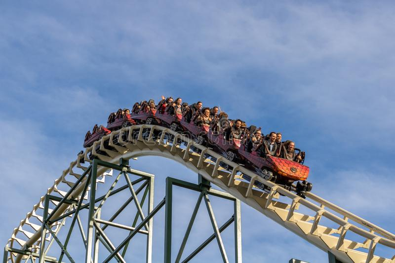 KAATSHEUVEL, The Netherlands. - November 6, 2018: People screaming and having fun in the Python. at efteling. stock photos