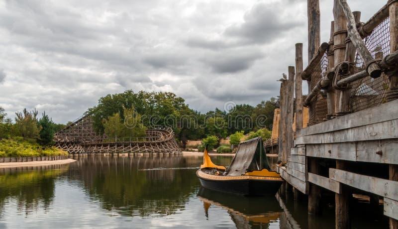 Kaatsheuvel, The Netherlands - September 15, 2018: Efteling landscape with a roller coaster stock photos