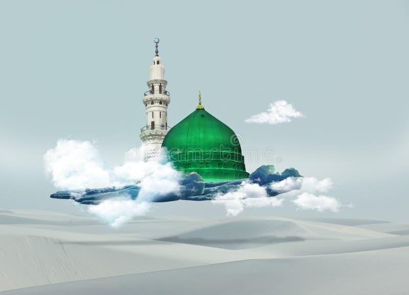 Kaba van Mekka - de Groene Koepel van Saudi-Arabië van het ontwerp van Helderziendemuhammad royalty-vrije stock afbeeldingen