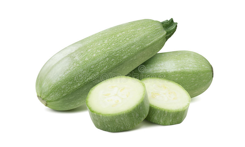 Kabaczka jarzynowego szpika kostnego zucchini odizolowywał 6 na białym tle fotografia royalty free