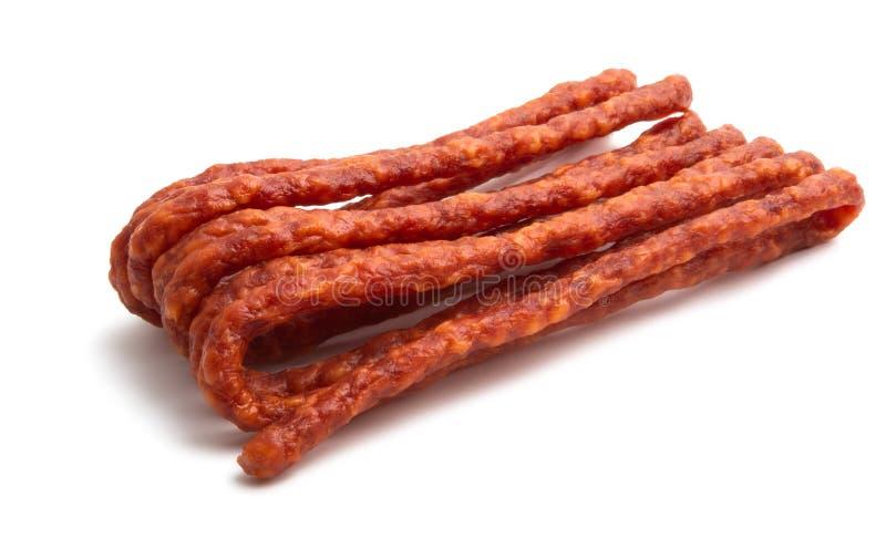 Kabanos Польская длинная тонкая сухая сосиска свинины стоковая фотография rf