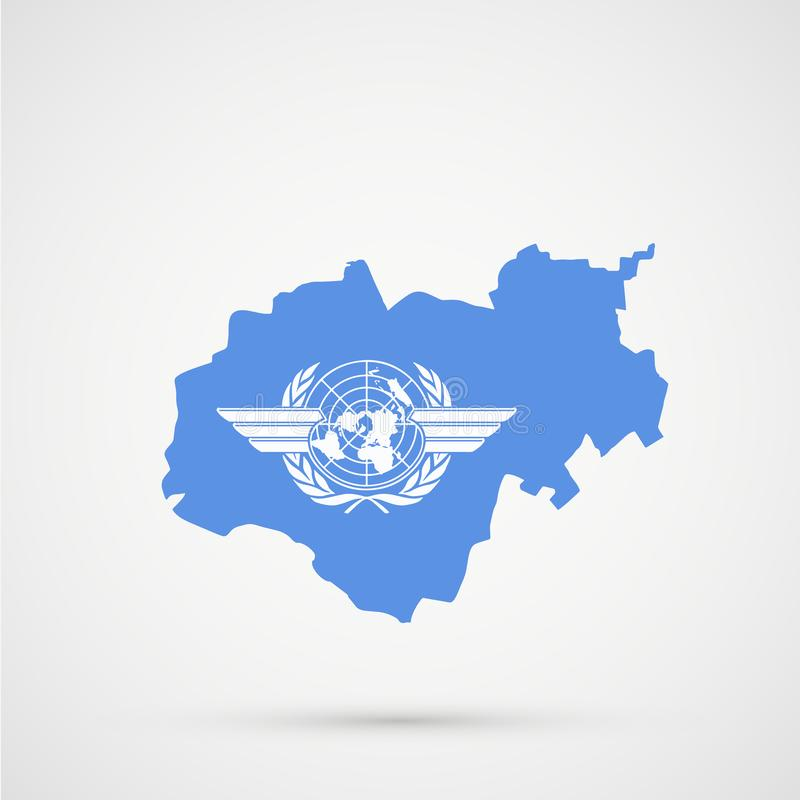 Kabardino-Balkaria map in ICAO International Civil Aviation Organization flag colors, editable vector.  vector illustration