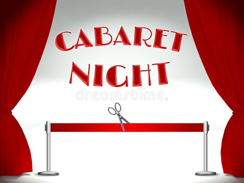 Kabaret na scenie, czerwonym faborku i nożycach, ilustracji
