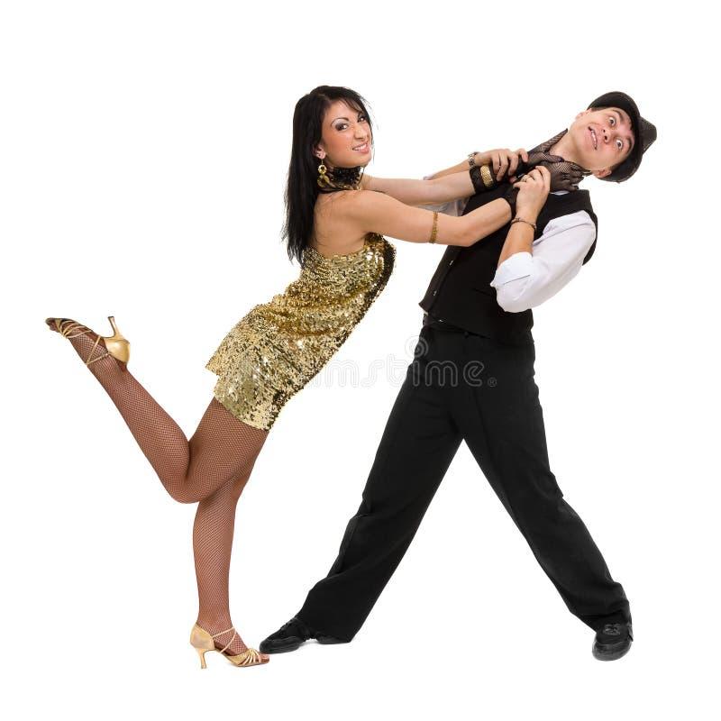 Kabaretowy tancerz pary taniec Odizolowywający na białym tle w pełnej długości obraz royalty free