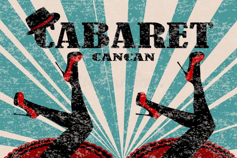 Kabarettplakat mit den Frauenbeinen in den roten Schuhen vektor abbildung
