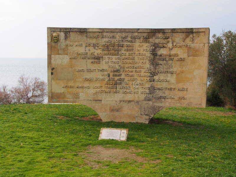 Kabatepe Ari Burnu plaży pomnik, Gallipoli zdjęcie stock