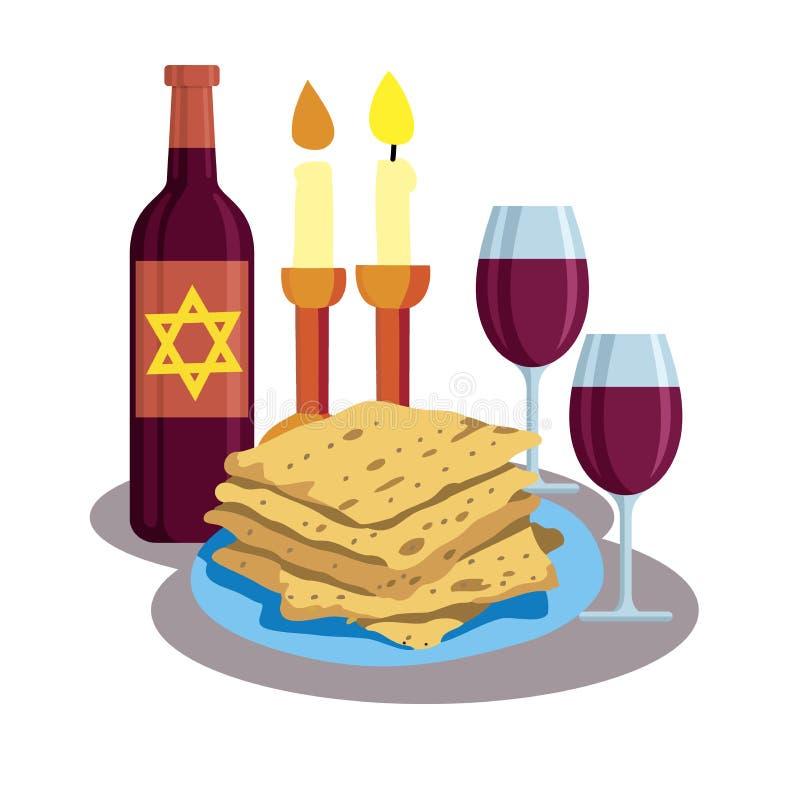 Kabbalat Shabbat, cena de la familia stock de ilustración